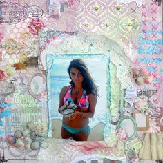Shells Scrapbook Page by Agnieszka Bellaidea using BoBunny Madeleine Collection. #BoBunny @bellaideascrap