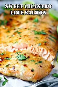 Sweet Cilantro Lime Salmon Recipe: Salmon is smothered in a sweet and spicy brown sugar and lime sauce, then baked and sprinkled with fresh cilantro in this quick and healthy dinner. Lime Salmon Recipes, Best Fish Recipes, Cilantro Recipes, Cilantro Lime Sauce, Spicy Salmon, Healthy Recipes, Lime Recipes, Healthy Meals, Seafood Taco Recipe