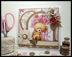 Teddy with Present ~ Wild Rose Studio