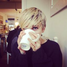"""Lydia and her coffee """"We don't eat in heaven... or drink."""" she loves her coffee/////I just love her hair!"""