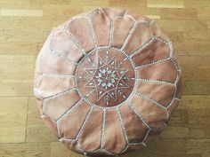 Moroccan Leather Pouffe Beige