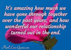 It's amazing how much we have gone through together over the past years, and how wonderful our relationship turned out in the end. #purelovequotes