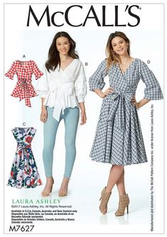 Misses' Wrap Tops and Dresses with Waist Tie - McCall's Sewing Pattern by Laura Ashley Laura Ashley, Mccalls Sewing Patterns, Vintage Sewing Patterns, Do It Yourself Fashion, Sewing Hacks, Sewing Tips, Sewing Tutorials, Love Sewing, Sewing Projects For Beginners