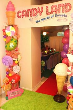 Willy Wonka's Candyland Wonderland Themed Party with So Many Cute Ideas via Kara's Party Ideas : Sweet Entrance
