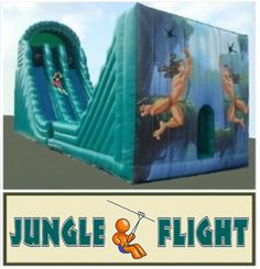 Inflatable Mobile Zip LIne & Slide Combo Walk On Water, Attraction, Zip, Games, Plays, Game, Spelling, Gaming