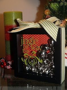 Bell Shadowbox:  Thank you all so much for the kind words on my Jingle Bell shadow box I shared earlier for the Christmas Crafts party. Many of you asked if there was a tutorial for it. I actually did take a few pictures while making it, so you're in luck! .....