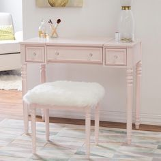 The Linon Brooklyn Vanity Set - Blush will remind you of old school glamour with modern functionality. Coming with a vanity table and matching. Blush Bedroom, Pink Bedroom Decor, Glam Bedroom, Bedroom Desk, Girls Bedroom, Bedroom Furniture, Master Bedroom, Pink Bedrooms, Wood Bedroom