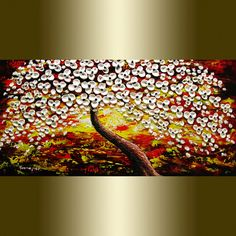 modern Abstract painting Contemporary oil painting white Blooming Tree landscape painting Heavy Palette Knife Texture Free Shipping to US