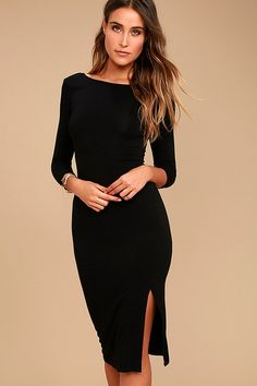Elegant Artistry Black Bodycon Midi Dress is all you need for a put-together look! A rounded neckline with a scooping back tops this knit bodycon dress. Black Midi Dress Bodycon, Midi Dress With Slit, Side Slit Dress, High Neck Dress, Elegant Midi Dresses, Jersey Knit Dress, Elegantes Outfit, Dressy Outfits, Chic