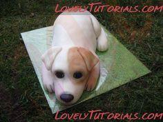 carved dog cake tutorial