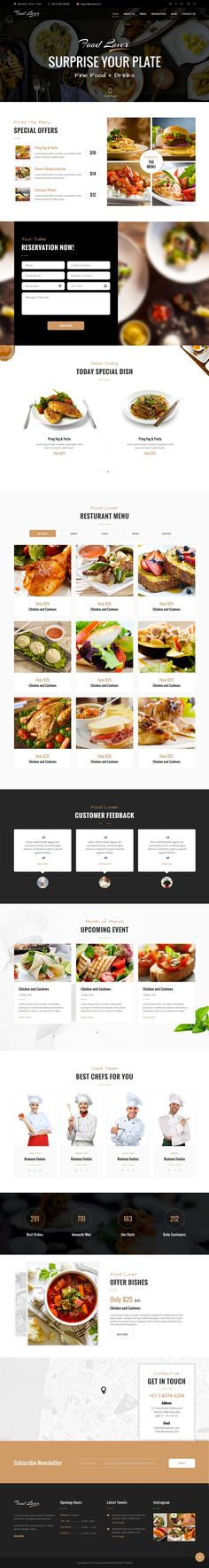 Food lover is modern and beautiful #Bootstrap template for #restaurant, bakery, #pastry shop, coffee shop, #food court or catering service and food business website download now➯ https://themeforest.net/item/food-lover-restaurant-html-template/16955420?ref=Datasata