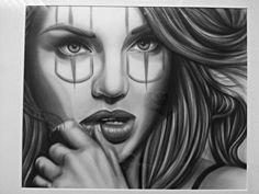 Amazing Payasa Airbrush Art by Pepe Vazquez at https://www.etsy.com/listing/188324622/clown-girl-18x20-print-payasa-print