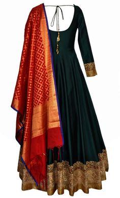 Bottle Green Floor Length anarkali with red benares dupatta Salwar Designs, Kurti Designs Party Wear, Blouse Designs, Dress Designs, Indian Attire, Indian Wear, Indian Outfits, Indian Gowns Dresses, Pakistani Dresses