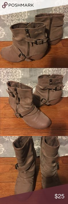Blowfish Tan Suede Wedge Booties Size 7, ****look at last picture that shows spots on boot*** Blowfish Shoes Ankle Boots & Booties
