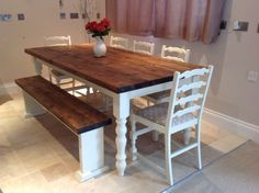 Rustic Farmhouse Shabby Chic Solid 8 Seater Dining Table Bench And 6 Chairs