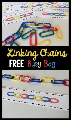 FREE printable preschool and kindergarten center activity. Also perfect for a busy bag activity! My kids love linking chains!FREE printable preschool and kindergarten center activity. Also perfect for a busy bag activity! My kids love linking chains! Kindergarten Centers, Kindergarten Classroom, Classroom Activities, Alphabet Activities, Preschool Learning Centers, Patterning Kindergarten, Kindergarten Morning Work, Montessori Elementary, Montessori Preschool