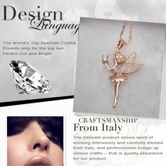 Fashion Women 18K Rose Gold CZ Crystal Angel Fairy Magic Pendant Chain Necklace #Unbranded #FashionFriendship #PartyCocktail