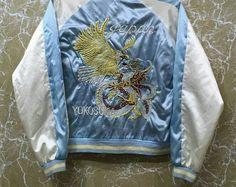Vintage 80s Japan Sukajan yokosuka embroidery Japanese souvenir jacket S size blue colour