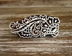 Flower Stamp, Indian Printing Block, Hand Carved Wood Stamp, Shell Fan Leaf Feather, Wooden Ceramic Tile Pottery Textile Stamp from India, by DelhiDaze, $12.00