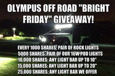 Make sure to like Olympus on Facebook and share the post for your chance to win!  #blackfriday #lights #jeep #olympusoffroad