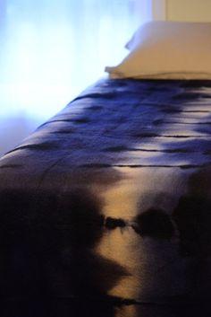 Hand dyed shibori wool blanket