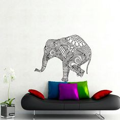 Wall Decals Elephant Indian Pattern Yoga Decal Vinyl by CozyDecal ☺  ✿