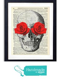 Skull With Red Roses Upcycled Vintage Dictionary Art Print 8x10 from Vintage Book Art Co. https://smile.amazon.com/dp/B01AKNP9X4/ref=hnd_sw_r_pi_dp_2XFiybR1R9KEY #handmadeatamazon