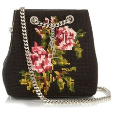 This bag is pretty as a picture . with a little chain-mail thrown in for  good measure. Monogram floral-tapestry bucket bag by Saint Laurent. 6f4179ad8d
