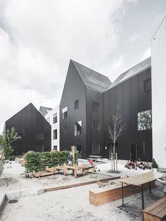 Frederiksvej Kindergarten by COBE, Copenhagen, Denmark. Facade made of metal mesh.