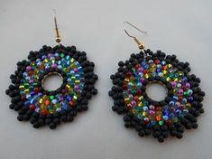 Items similar to Rainbow mix seed bead earrings,circular brick stitch beadwork hoop earrings on Etsy Beaded Earrings Native, Seed Bead Earrings, Leaf Earrings, Diy Earrings, Seed Beads, Beaded Jewelry, Crochet Earrings, Handmade Jewelry, Hoop Earrings