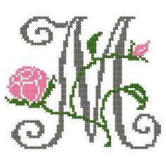 design-Cross Stitch-Abc Rose anglaise-W Cross Stitch Letters, Cross Stitch Heart, Cross Stitching, Cross Stitch Embroidery, Cross Stitch Designs, Stitch Patterns, Monogram Alphabet, Le Point, Sewing Hacks