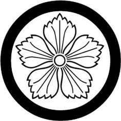 秋の七草に出てくる植物の家紋:丸に陰撫子・まるにかげなでしこ