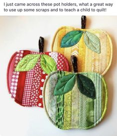 Fabric Crafts Timothy: Red, yellow and green apples – Sewing Projects Sewing Hacks, Sewing Crafts, Diy Crafts, Sewing Tips, Sewing Tutorials, Decor Crafts, Hot Pads, Sewing Patterns Free, Free Sewing