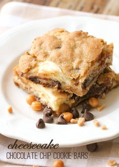 Cheesecake Chocolate Chip Cookie Bars - Gooey and delicious! { lilluna.com } Recipe has cream cheese, chocolate chips, caramel bits, & toffee bits!
