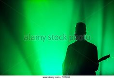 ... green stage lighting during a performance in Austin TX. - Stock Image