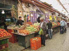 Jerusalem, Israel - Food & Drink, Outdoor market, Shuk Mahane Yehuda, veggie vendor (שוק מחנה יהודה)