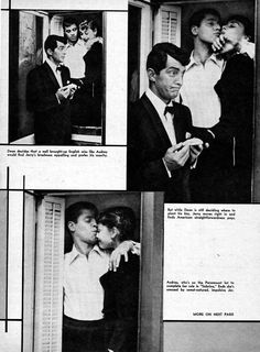 """""""The Most Kissable Girl We Know"""": Dean Martin, Jerry Lewis and Audrey Hepburn at Paramount Studios in Magazine clipping, (Note: Billy Wilder's """"Sabrina"""" was filmed between 29 September and 5 December in Dean Martin, Martin Movie, Audrey Hepburn, Jerry Lewis, Classic Hollywood, Old Hollywood, Old Movie Stars, Roman Holiday, Cinema"""