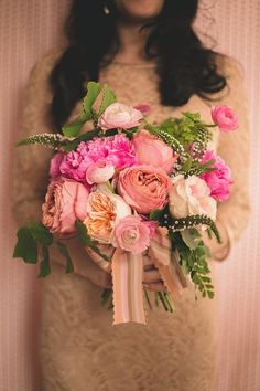 Romantic pink bouquet designed by floral studio Bows and Arrows | Photo by N. Barrett