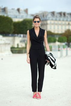 Helena Bordon business chic in black jumpsuit | Paris #StreetStyle Spring 2015