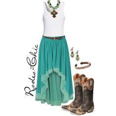 By rodeo-chic Hi-lo maxi skirt with cowboy bootsm turquoise, western