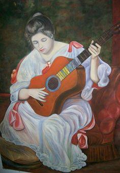 Releitura -  Mulher com Guitarra de Renoir por Fredi Ambrogi Ateliê Técnica mista http://www.elo7.com.br/releitura-mulher-com-guitarra-renoir/dp/32D5CB