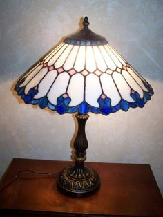 Stained glass art nuevo lamp