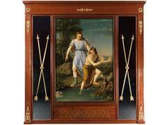 Mahagonifurnierte Wandvertäfelung mit Bronzebeschlägen, Rosetten und Palmetten. Im Zentrum ein Gemälde von Tobias und dem Engel, Öl auf Leinwand. Beiseitig ...