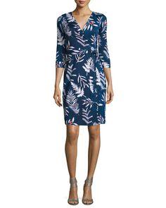 DIANE VON FURSTENBERG Long-Sleeve Floral-Print Wrap Dress, Leaves Indigo. #dianevonfurstenberg #cloth #