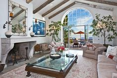 The beams in the home are all imported from Italy, along with the fireplace.