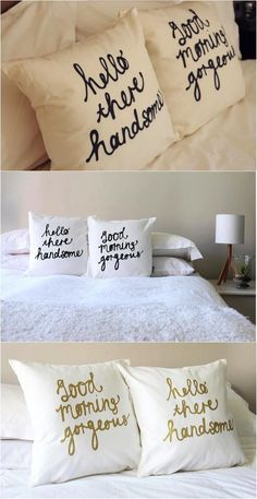 How insanely cute are these pillows? These would be such a great gift for a young couple that just moved in together! Dream Bedroom, Home Bedroom, Master Bedroom, Bedroom Decor, Bedrooms, First Apartment, Apartment Living, Moving In Together, First Home