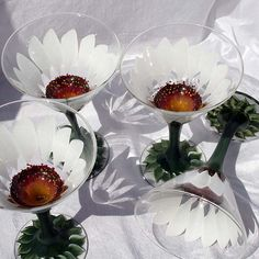 Hand Painted Cocktail Glasses Martini Open Flower White Daisy, via Flickr.