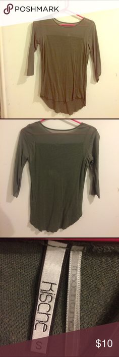 Sheer High Low Army Green Top Adorable Sheer top and sleeves, 3/4 length sleeves high low top. In over all great condition but has been previously loved. Made in Turkey. Feel free to ask questions and make offers! 30% off bundles! Kische Tops