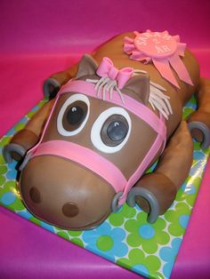 Horse cake - A huge horse cake for a little girl who turned 2 years old. Chocolate cake with chocolate cream cheese frosting.