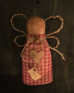 Primitive Valentine's Day Angel Ornie by Countrybabiesusa on Etsy https://www.etsy.com/listing/216642724/primitive-valentines-day-angel-ornie
